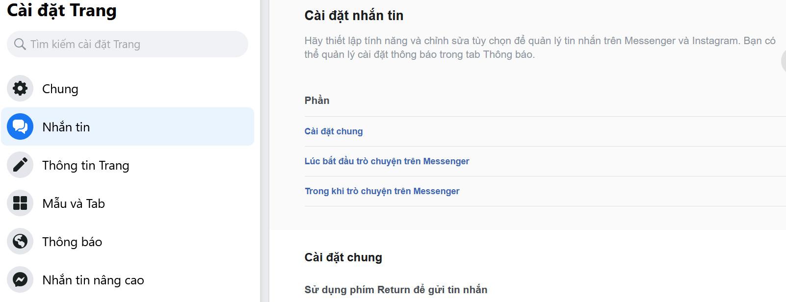 Chọn mục Nhắn tin ở phần Cài đặt Trang