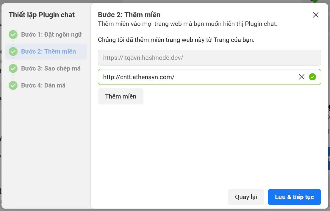 Thêm tên miền vào trang web mà bạn muốn hiển thị plugin chat