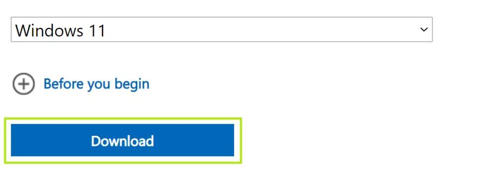 Nhấn Download để tải Windows 11 về máy