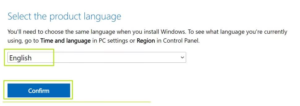 Chọn ngôn ngữ Windows 11 và nhấn Confirm