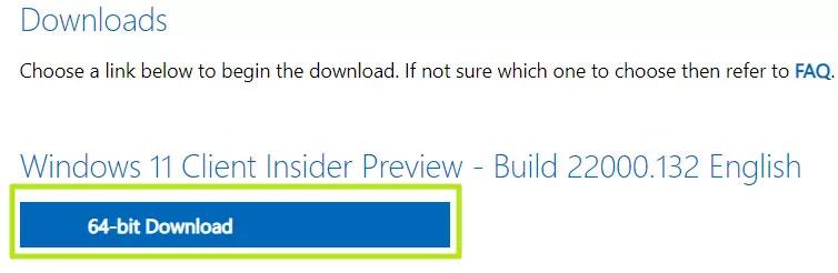 Nhấn vào mục 64-bit Download để tải file ISO Windows 11 về mát